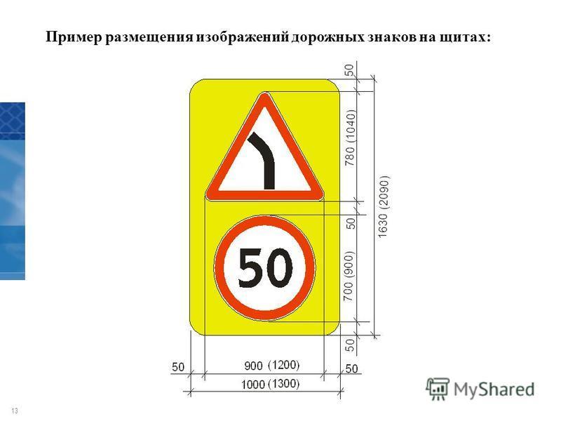 13 Пример размещения изображений дорожных знаков на щитах:
