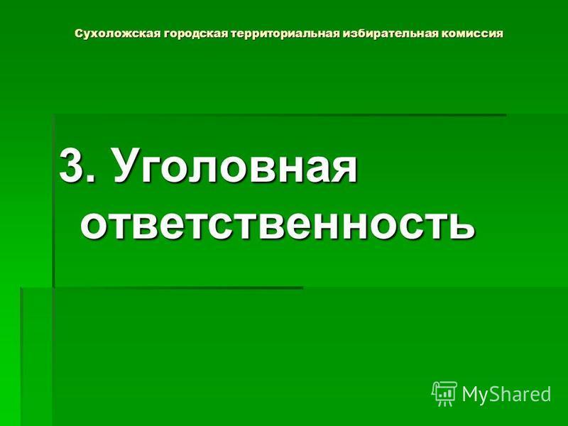 Сухоложская городская территориальная избирательная комиссия 3. Уголовная ответственность