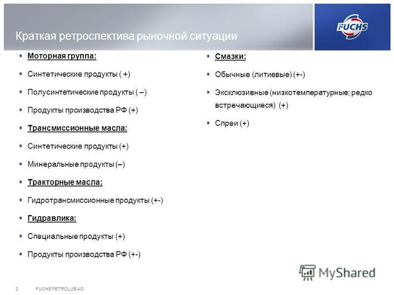 Краткая ретроспектива рыночной ситуации Моторная группа: Синтетические продукты ( +) Полусинтетические продукты ( –) Продукты производства РФ (+) Трансмиссионные масла: Синтетические продукты (+) Минеральные продукты (–) Тракторные масла: Гидротрансм