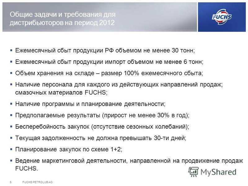 Общие задачи и требования для дистрибьюторов на период 2012 Ежемесячный сбыт продукции РФ объемом не менее 30 тонн; Ежемесячный сбыт продукции импорт объемом не менее 6 тонн; Объем хранения на складе – размер 100% ежемесячного сбыта; Наличие персонал