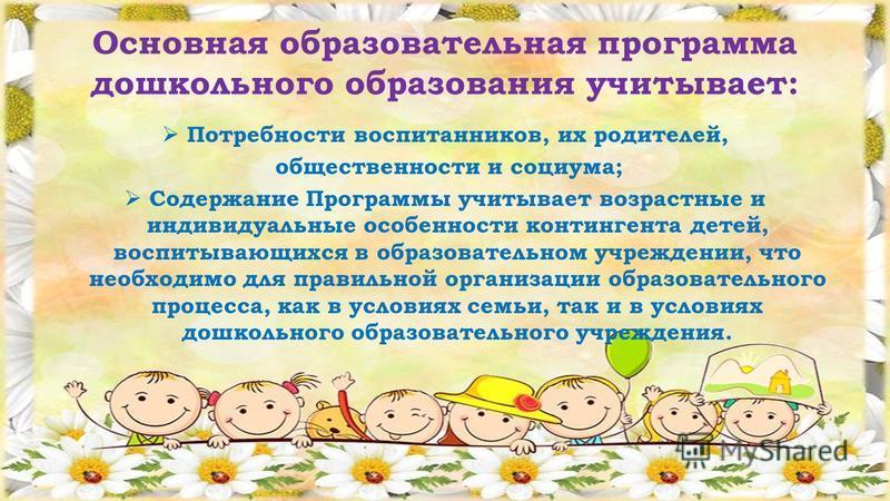 Основная образовательная программа дошкольного образования учитывает: Потребности воспитанников, их родителей, общественности и социума; Содержание Программы учитывает возрастные и индивидуальные особенности контингента детей, воспитывающихся в образ