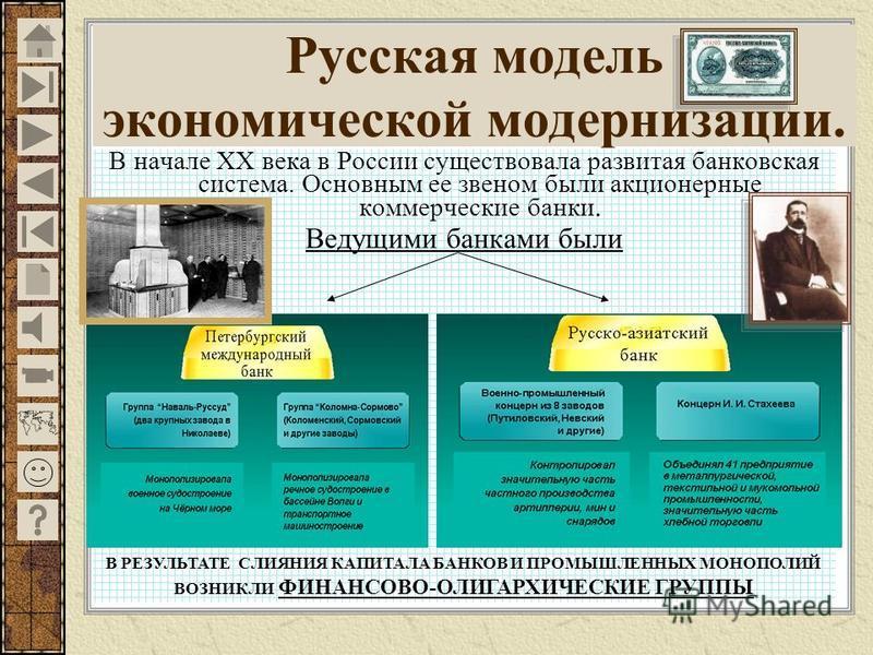 В начале ХХ века в России существовала развитая банковская система. Основным ее звеном были акционерные коммерческие банки. Ведущими банками были Русская модель экономической модернизации. В РЕЗУЛЬТАТЕ СЛИЯНИЯ КАПИТАЛА БАНКОВ И ПРОМЫШЛЕННЫХ МОНОПОЛИЙ