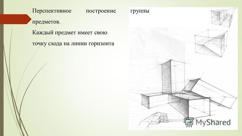 Перспективное построение группы предметов. Каждый предмет имеет свою точку схода на линии горизонта