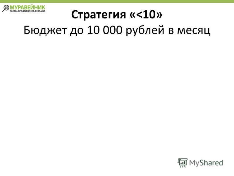 Стратегия «<10» Бюджет до 10 000 рублей в месяц