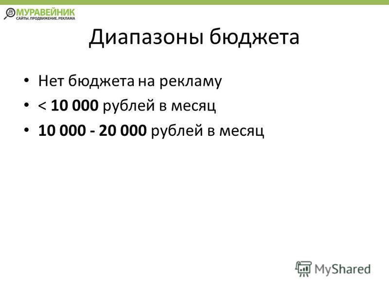 Диапазоны бюджета Нет бюджета на рекламу < 10 000 рублей в месяц 10 000 - 20 000 рублей в месяц