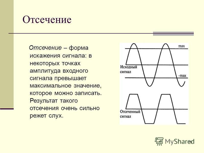 16 Отсечение Отсечение – форма искажения сигнала: в некоторых точках амплитуда входного сигнала превышает максимальное значение, которое можно записать. Результат такого отсечения очень сильно режет слух.