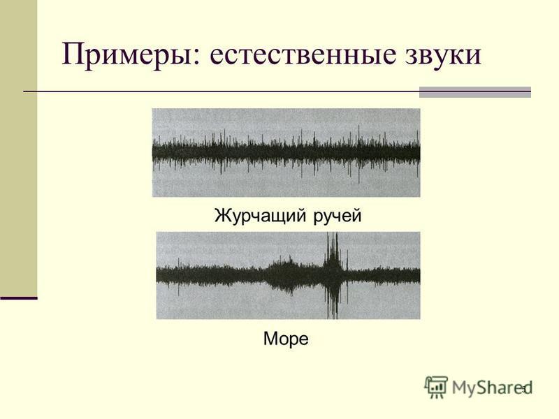 5 Примеры: естественные звуки Журчащий ручей Море