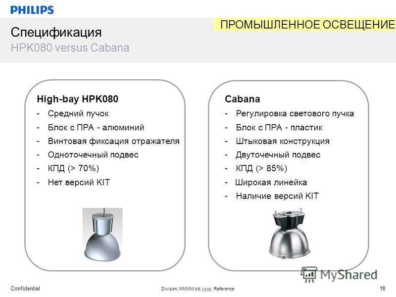 Confidential Divison, MMMM dd, yyyy, Reference 18 Спецификация HPK080 versus Cabana High-bay HPK080 -Средний пучок -Блок с ПРА - алюминий -Винтовая фиксация отражателя -Одноточечный подвес -КПД (> 70%) -Нет версий KIT Cabana -Регулировка светового пу
