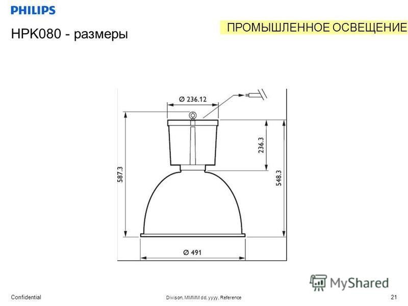 Confidential Divison, MMMM dd, yyyy, Reference 21 HPK080 - размеры ПРОМЫШЛЕННОЕ ОСВЕЩЕНИЕ