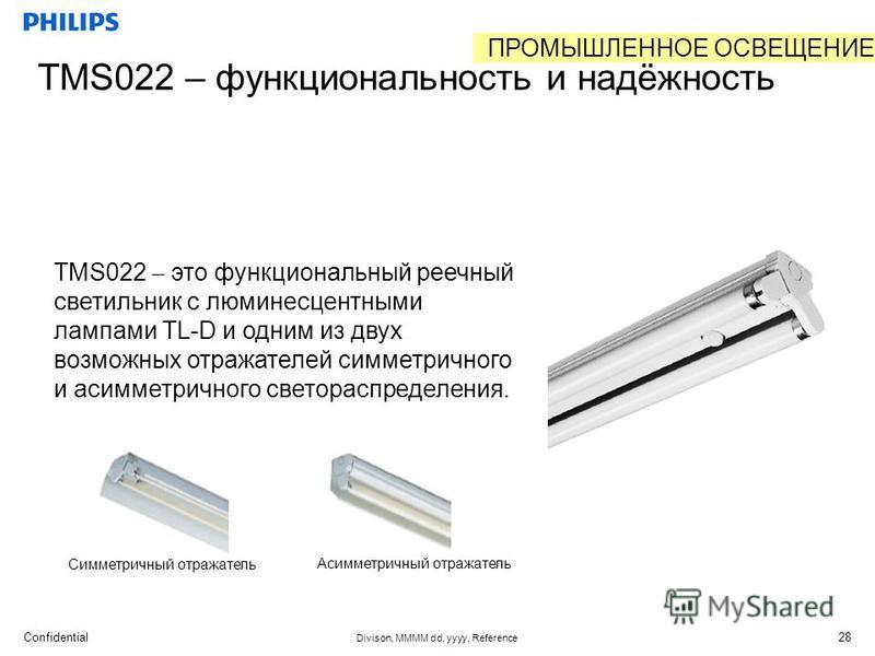 Confidential Divison, MMMM dd, yyyy, Reference 28 TMS022 – функциональность и надёжность TMS022 – это функциональный реечный светильник с люминесцентными лампами TL-D и одним из двух возможных отражателей симметричного и асимметричного светораспредел