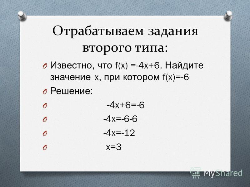 Отрабатываем задания второго типа: O Известно, что f(x) =-4x+6. Найдите значение x, при котором f(x)=-6 O Решение : O -4x+6=-6 O -4x=-6-6 O -4x=-12 O x=3