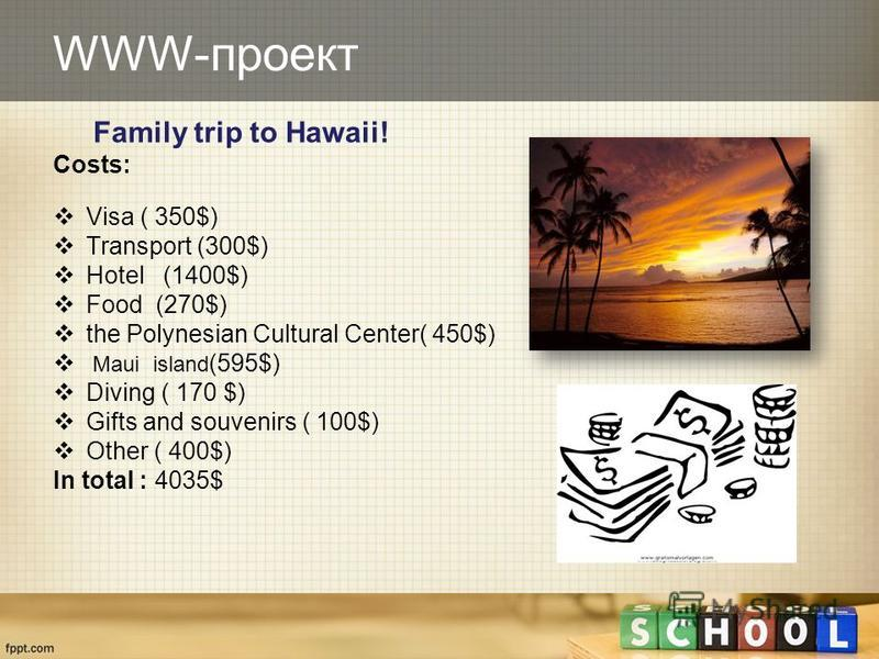WWW-проект Family trip to Hawaii! Costs: Visa ( 350$) Transport (300$) Hotel (1400$) Food (270$) the Polynesian Cultural Center( 450$) Maui island (595$) Diving ( 170 $) Gifts and souvenirs ( 100$) Other ( 400$) In total : 4035$