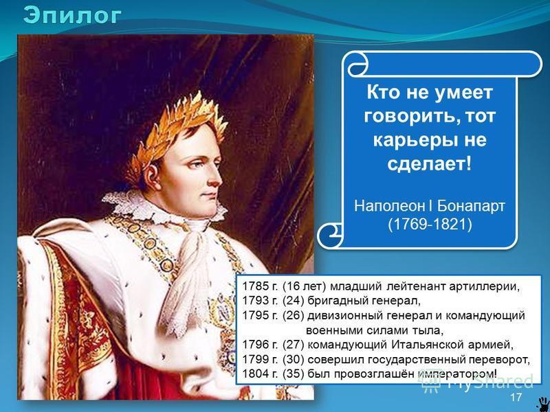 17 Кто не умеет говорить, тот карьеры не сделает! Наполеон I Бонапарт (1769-1821) Кто не умеет говорить, тот карьеры не сделает! Наполеон I Бонапарт (1769-1821) 1785 г. (16 лет) младший лейтенант артиллерии, 1793 г. (24) бригадный генерал, 1795 г. (2