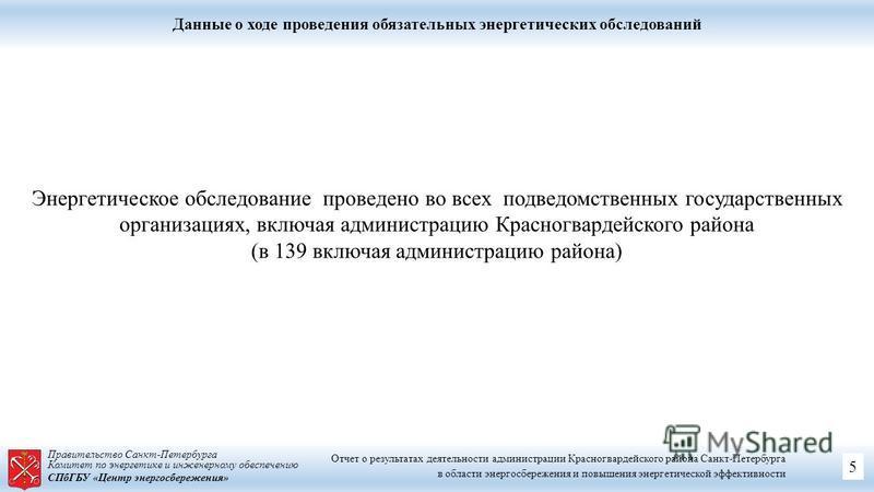Правительство Санкт-Петербурга Комитет по энергетике и инженерному обеспечению СПбГБУ «Центр энергосбережения» Данные о ходе проведения обязательных энергетических обследований Энергетическое обследование проведено во всех подведомственных государств