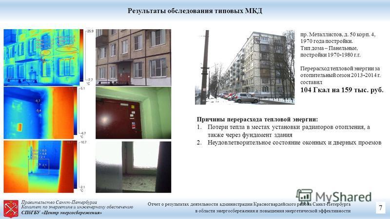 Правительство Санкт-Петербурга Комитет по энергетике и инженерному обеспечению СПбГБУ «Центр энергосбережения» Результаты обследования типовых МКД Причины перерасхода тепловой энергии: 1. Потери тепла в местах установки радиаторов отопления, а также