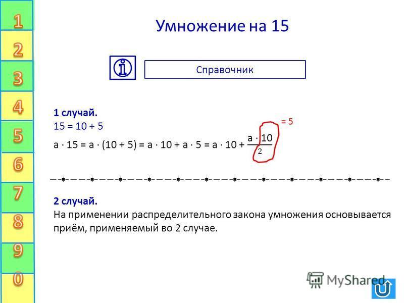 Умножение на 15 = 5