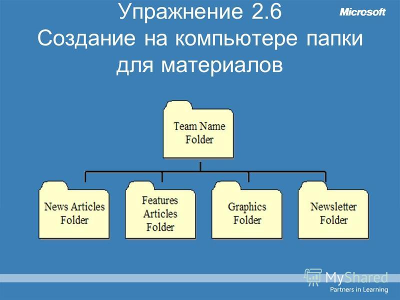 Упражнение 2.6 Создание на компьютере папки для материалов