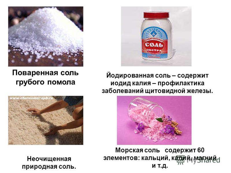 Поваренная соль грубого помола Йодированная соль – содержит иодид калия – профилактика заболеваний щитовидной железы. Морская соль содержит 60 элементов: кальций, калий, магний и т.д. Неочищенная природная соль.