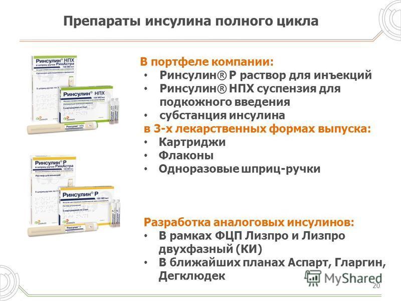 Препараты инсулина полного цикла 20 В портфеле компании: Ринсулин® Р раствор для инъекций Ринсулин® НПХ суспензия для подкожного введения субстанция инсулина в 3-х лекарственных формах выпуска: Картриджи Флаконы Одноразовые шприц-ручки Разработка ана