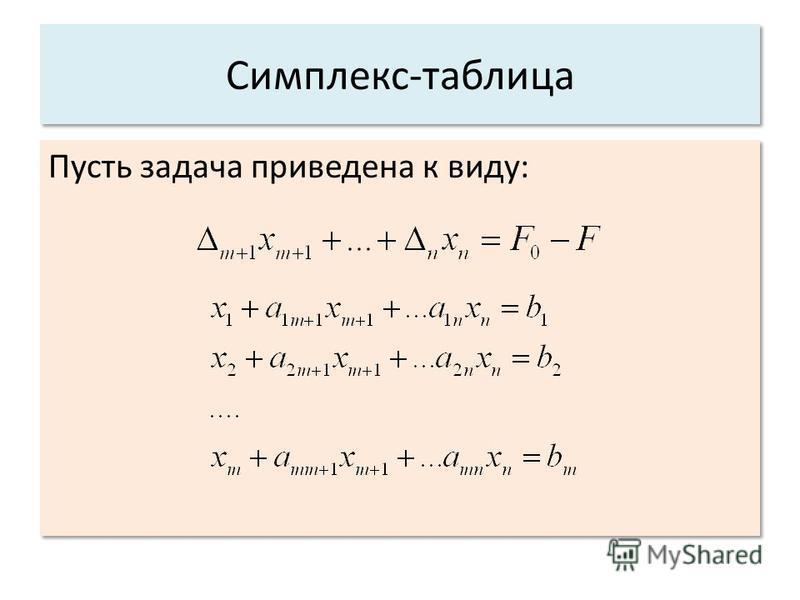 Симплекс-таблица Пусть задача приведена к виду: