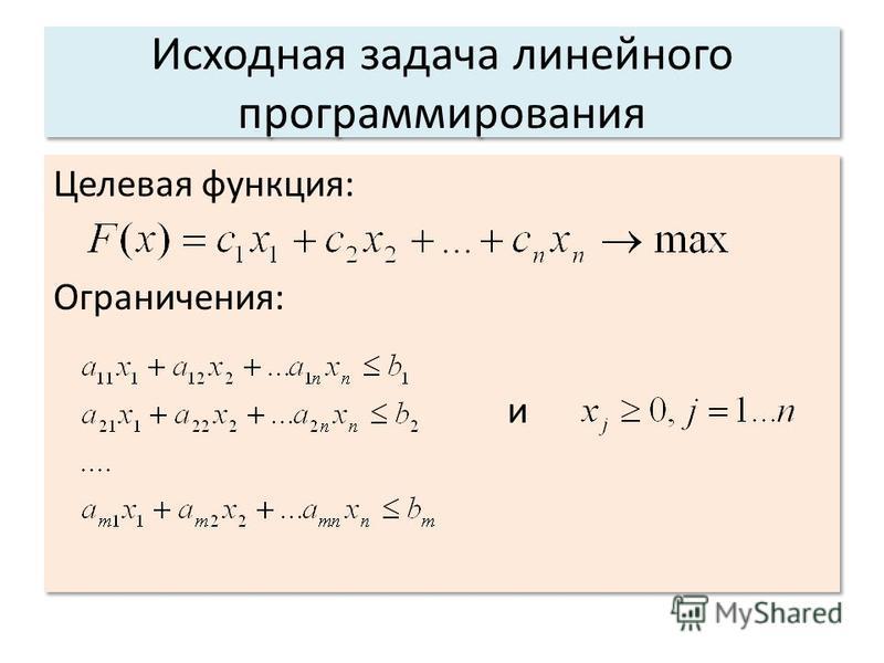 Исходная задача линейного программирования Целевая функция: Ограничения: и Целевая функция: Ограничения: и