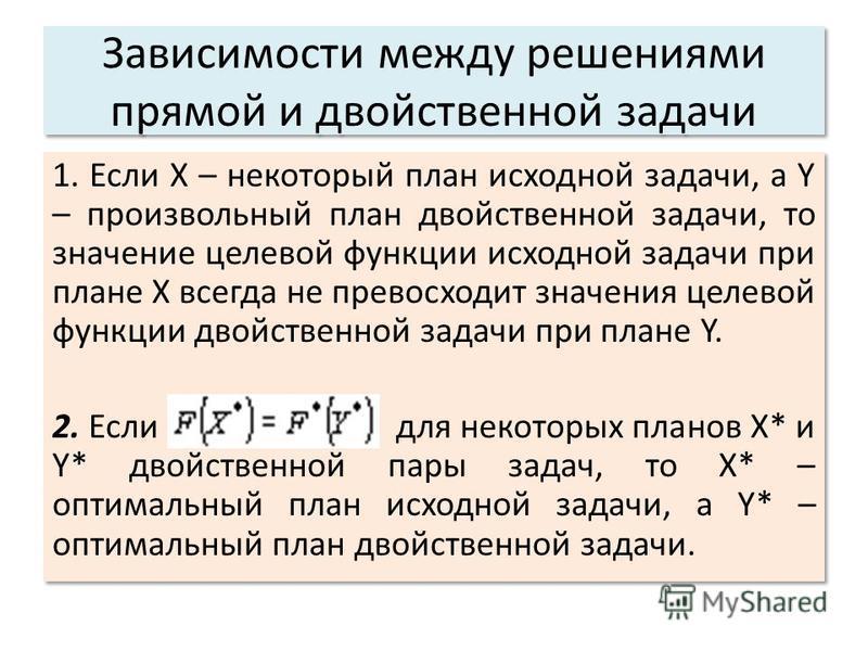 Зависимости между решениями прямой и двойственной задачи 1. Если Х – некоторый план исходной задачи, a Y – произвольный план двойственной задачи, то значение целевой функции исходной задачи при плане Х всегда не превосходит значения целевой функции д