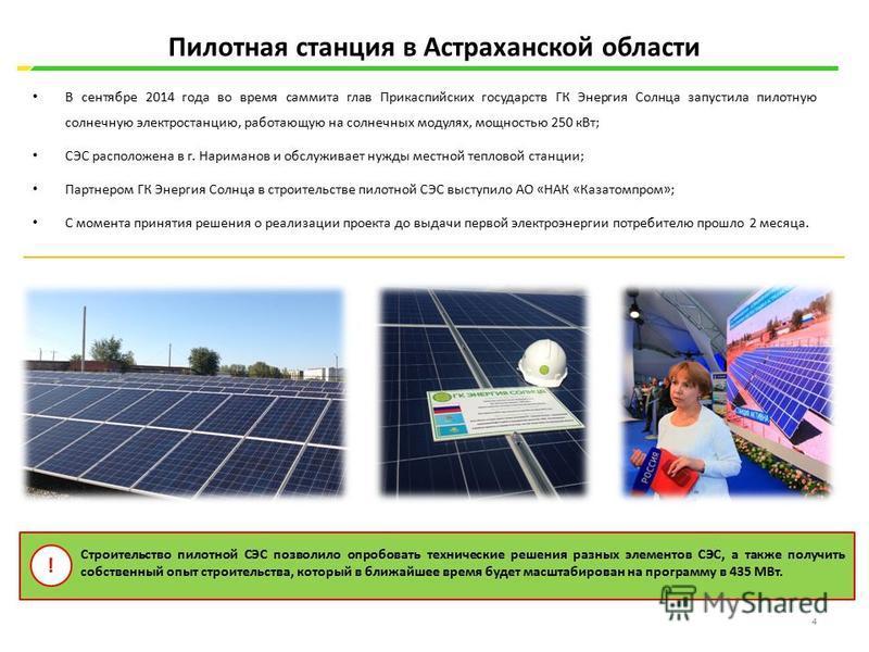 В сентябре 2014 года во время саммита глав Прикаспийских государств ГК Энергия Солнца запустила пилотную солнечную электростанцию, работающую на солнечных модулях, мощностью 250 к Вт; СЭС расположена в г. Нариманов и обслуживает нужды местной теплово
