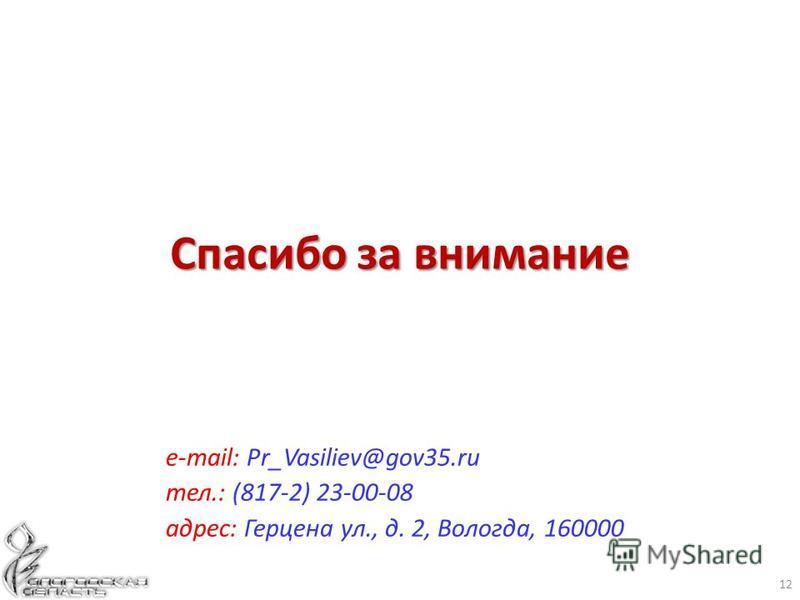 12 е-mail: Pr_Vasiliev@gov35. ru тел.: (817-2) 23-00-08 адрес: Герцена ул., д. 2, Вологда, 160000 Спасибо за внимание