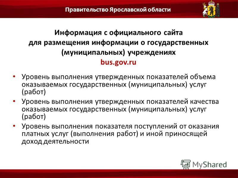 Информация с официального сайта для размещения информации о государственных (муниципальных) учреждениях bus.gov.ru Уровень выполнения утвержденных показателей объема оказываемых государственных (муниципальных) услуг (работ) Уровень выполнения утвержд