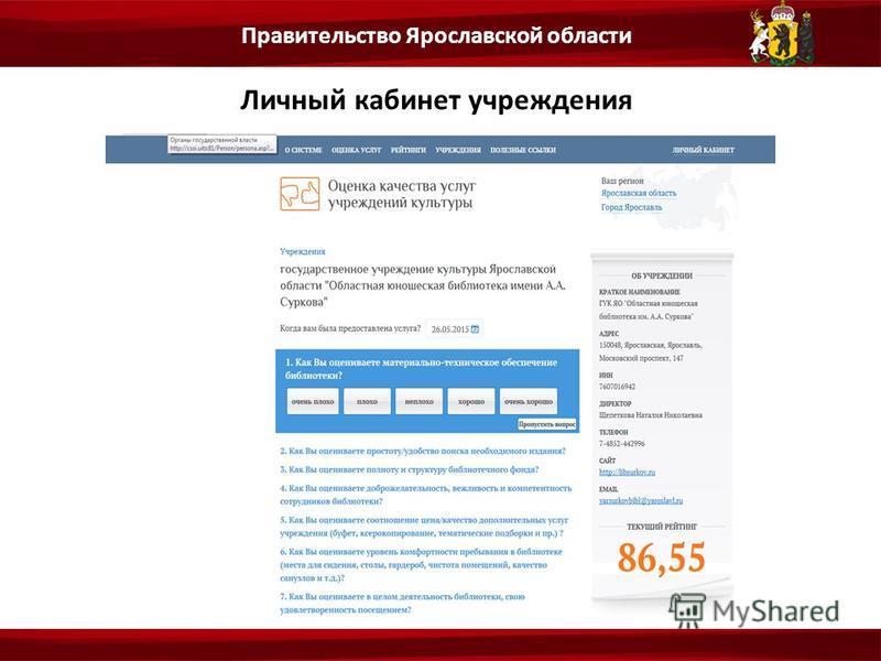 Личный кабинет учреждения Правительство Ярославской области