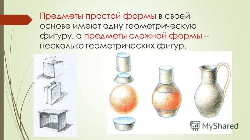 Предметы простой формы в своей основе имеют одну геометрическую фигуру, а предметы сложной формы – несколько геометрических фигур.