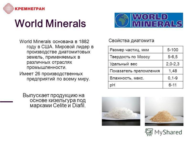 World Minerals World Minerals основана в 1882 году в США. Мировой лидер в производстве диатомитовых земель, применяемых в различных отраслях промышленности. Имеет 26 производственных предприятий по всему миру. Свойства диатомита Размер частиц, мкм 5-