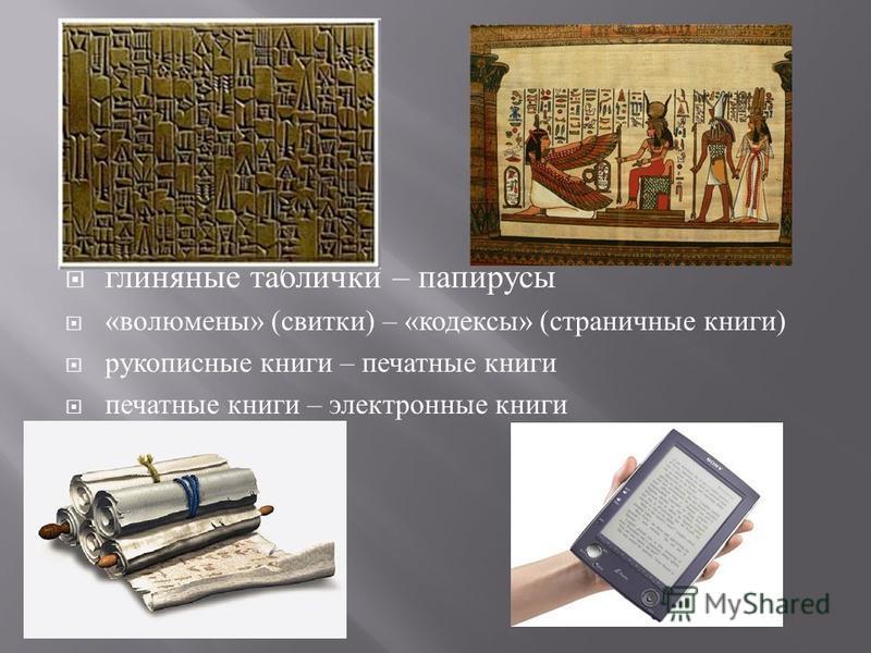 глиняные таблички – папирусы « во люмены » ( свитки ) – « кодексы » ( страничные книги ) рукописные книги – печатные книги печатные книги – электронные книги