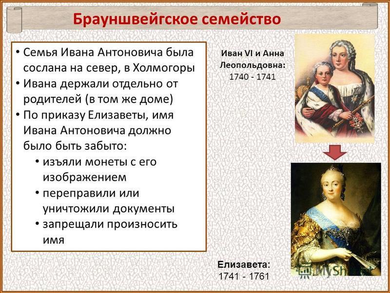 Брауншвейгское семейство Елизавета: 1741 - 1761 Иван VI и Анна Леопольдовна: 1740 - 1741 Семья Ивана Антоновича была сослана на север, в Холмогоры Ивана держали отдельно от родителей (в том же доме) По приказу Елизаветы, имя Ивана Антоновича должно б