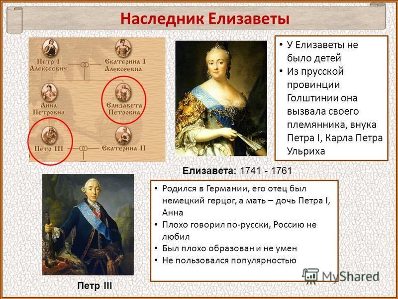 Наследник Елизаветы Елизавета: 1741 - 1761 Петр III У Елизаветы не было детей Из прусской провинции Голштинии она вызвала своего племянника, внука Петра I, Карла Петра Ульриха Родился в Германии, его отец был немецкий герцог, а мать – дочь Петра I, А
