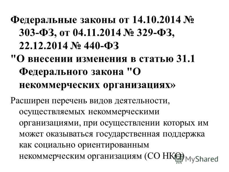 Федеральные законы от 14.10.2014 303-ФЗ, от 04.11.2014 329-ФЗ, 22.12.2014 440-ФЗ