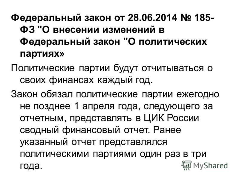 Федеральный закон от 28.06.2014 185- ФЗ