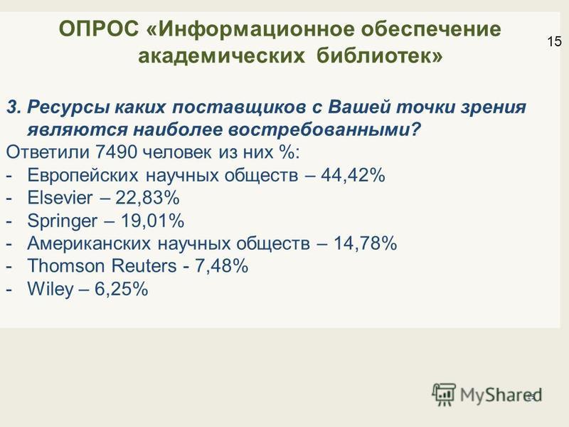 15 ОПРОС «Информационное обеспечение академических библиотек» 3. Ресурсы каких поставщиков с Вашей точки зрения являются наиболее востребованными? Ответили 7490 человек из них %: -Европейских научных обществ – 44,42% -Elsevier – 22,83% -Springer – 19