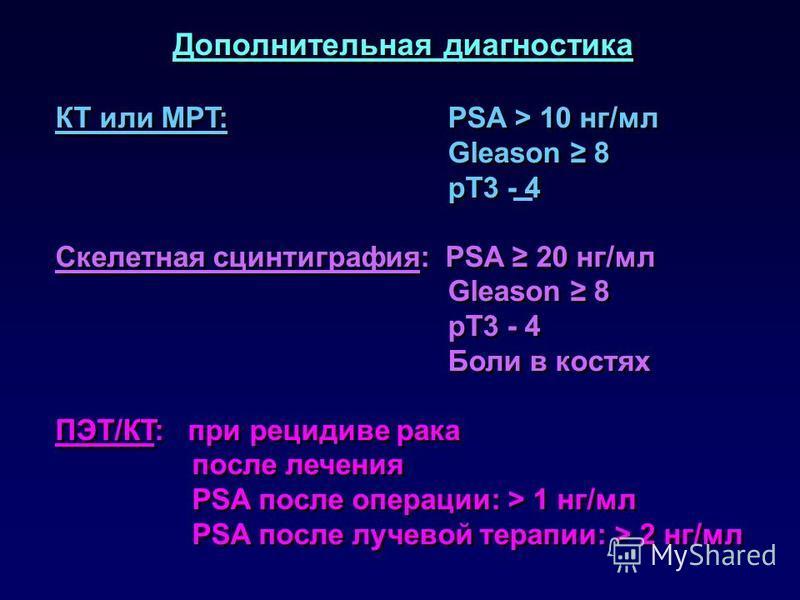 Дополнительная диагностика КТ или MРT: PSA > 10 нг/мл Gleason 8 pT3 - 4 Скелетная сцинтиграфия: PSA 20 нг/мл Gleason 8 pT3 - 4 Боли в костях ПЭT/КT: при рецидиве рака после лечения PSA после операции: > 1 нг/мл PSA после лучевой терапии: > 2 нг/мл До