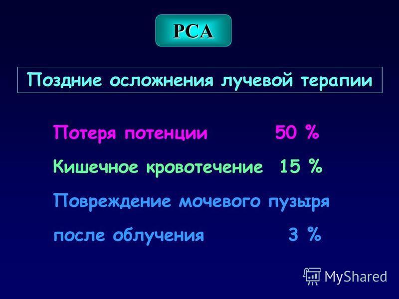 Поздние осложнения лучевой терапии Потеря потенции 50 % Кишечное кровотечение 15 % Повреждение мочевого пузыря после облучения 3 % PCA