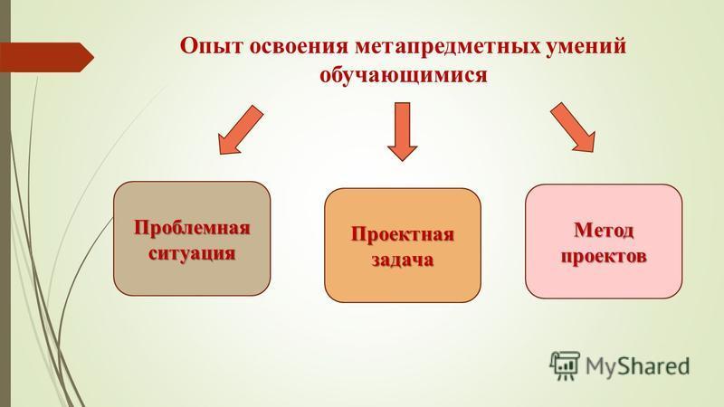 Опыт освоения метапредметных умений обучающимися Проектная задача Проектная задача Проблемная ситуация Проблемная ситуация Метод проектов Метод проектов