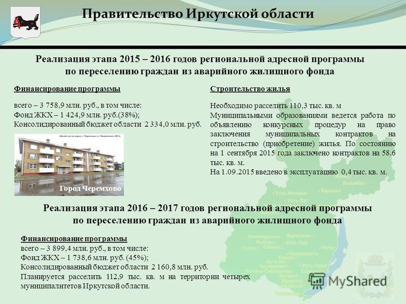 Реализация этапа 2015 – 2016 годов региональной адресной программы по переселению граждан из аварийного жилищного фонда Правительство Иркутской области Финансирование программы всего – 3 758,9 млн. руб., в том числе: Фонд ЖКХ – 1 424,9 млн. руб.(38%)