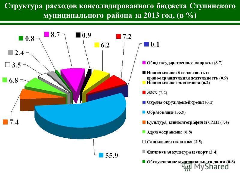 Структура расходов консолидированного бюджета Ступинского муниципального района за 2013 год, (в %)