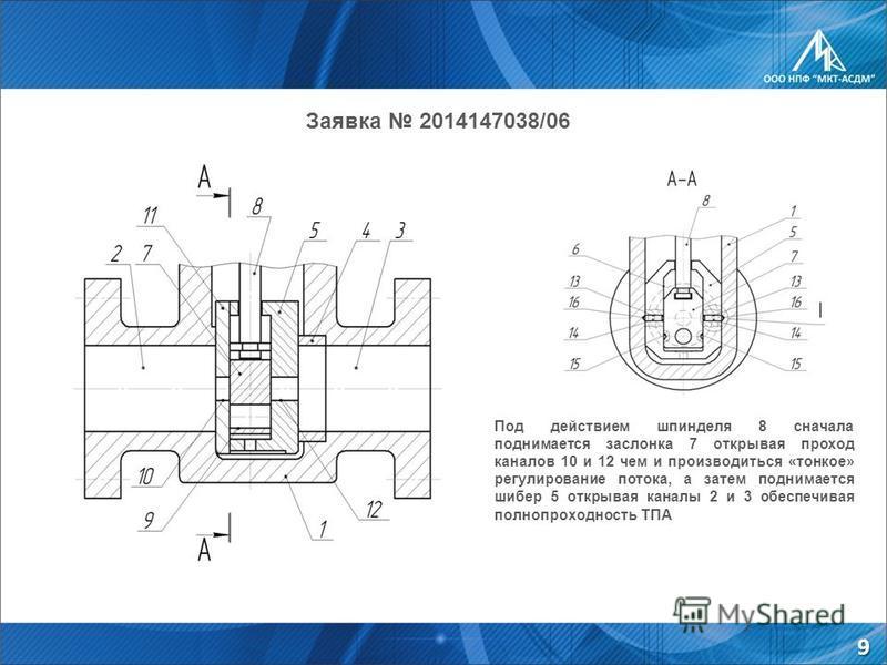 Заявка 2014147038/06 Под действием шпинделя 8 сначала поднимается заслонка 7 открывая проход каналов 10 и 12 чем и производиться «тонкое» регулирование потока, а затем поднимается шибер 5 открывая каналы 2 и 3 обеспечивая полнопроходность ТПА 9