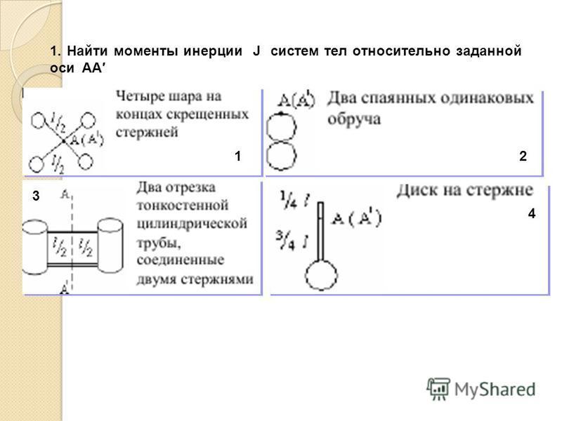 1. Найти моменты инерции J систем тел относительно заданной оси AA 12 3 4