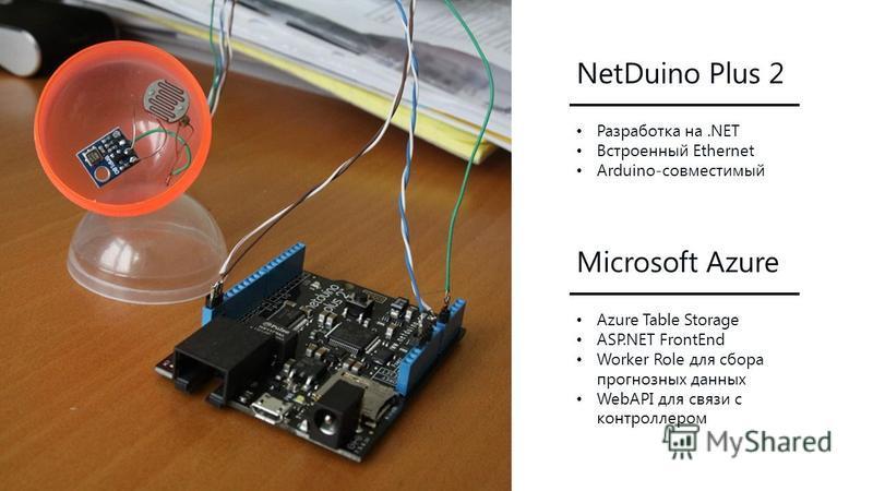 NetDuino Plus 2 Разработка на.NET Встроенный Ethernet Arduino-совместимый Microsoft Azure Azure Table Storage ASP.NET FrontEnd Worker Role для сбора прогнозных данных WebAPI для связи с контроллером