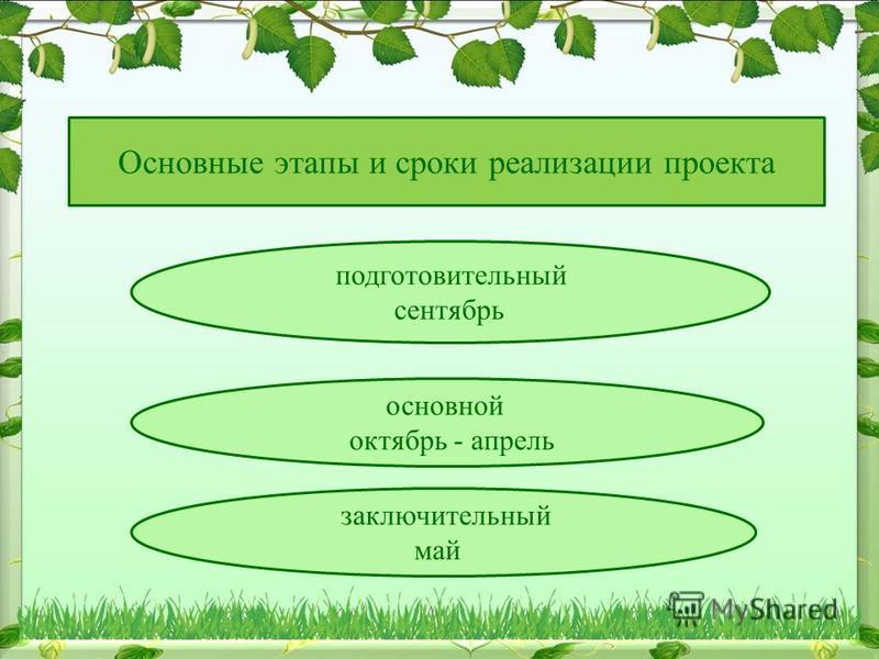 Основные этапы и сроки реализации проекта подготовительный сентябрь основной октябрь - апрель заключительный май