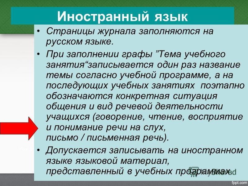 Иностранный язык Страницы журнала заполняются на русском языке. При заполнении графы Тема учебного занятия записывается один раз название темы согласно учебной программе, а на последующих учебных занятиях поэтапно обозначаются конкретная ситуация общ