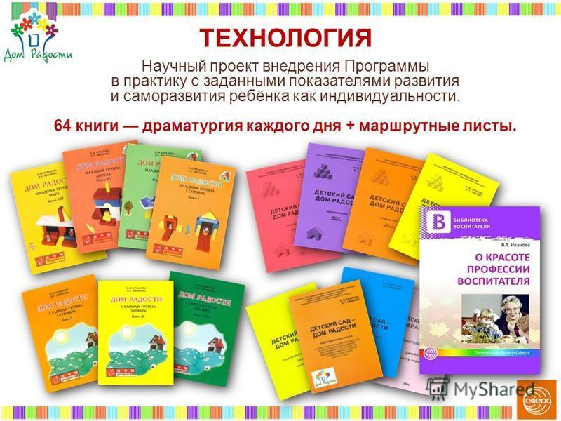 Научный проект внедрения Программы в практику с заданными показателями развития и саморазвития ребёнка как индивидуальности. 64 книги драматургия каждого дня + маршрутные листы. ТЕХНОЛОГИЯ