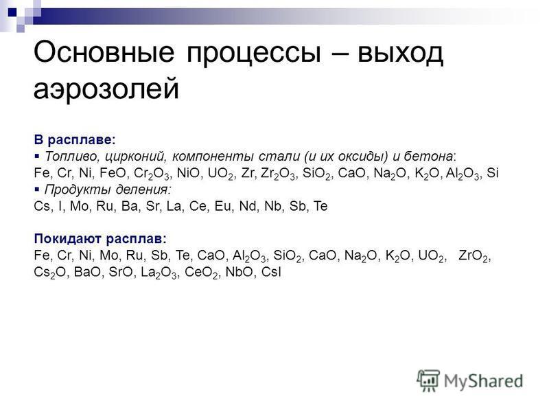 Основные процессы – выход аэрозолей В расплаве: Топливо, цирконий, компоненты стали (и их оксиды) и бетона: Fe, Cr, Ni, FeO, Cr 2 O 3, NiO, UO 2, Zr, Zr 2 O 3, SiO 2, CaO, Na 2 O, K 2 O, Al 2 O 3, Si Продукты деления: Cs, I, Mo, Ru, Ba, Sr, La, Ce, E